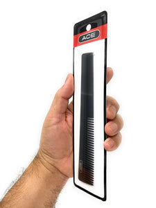 Ace 7 in. All-Purpose Flexible Hair Cutting Barber Comb Hard Rubber Tapered Black 1 Pc.
