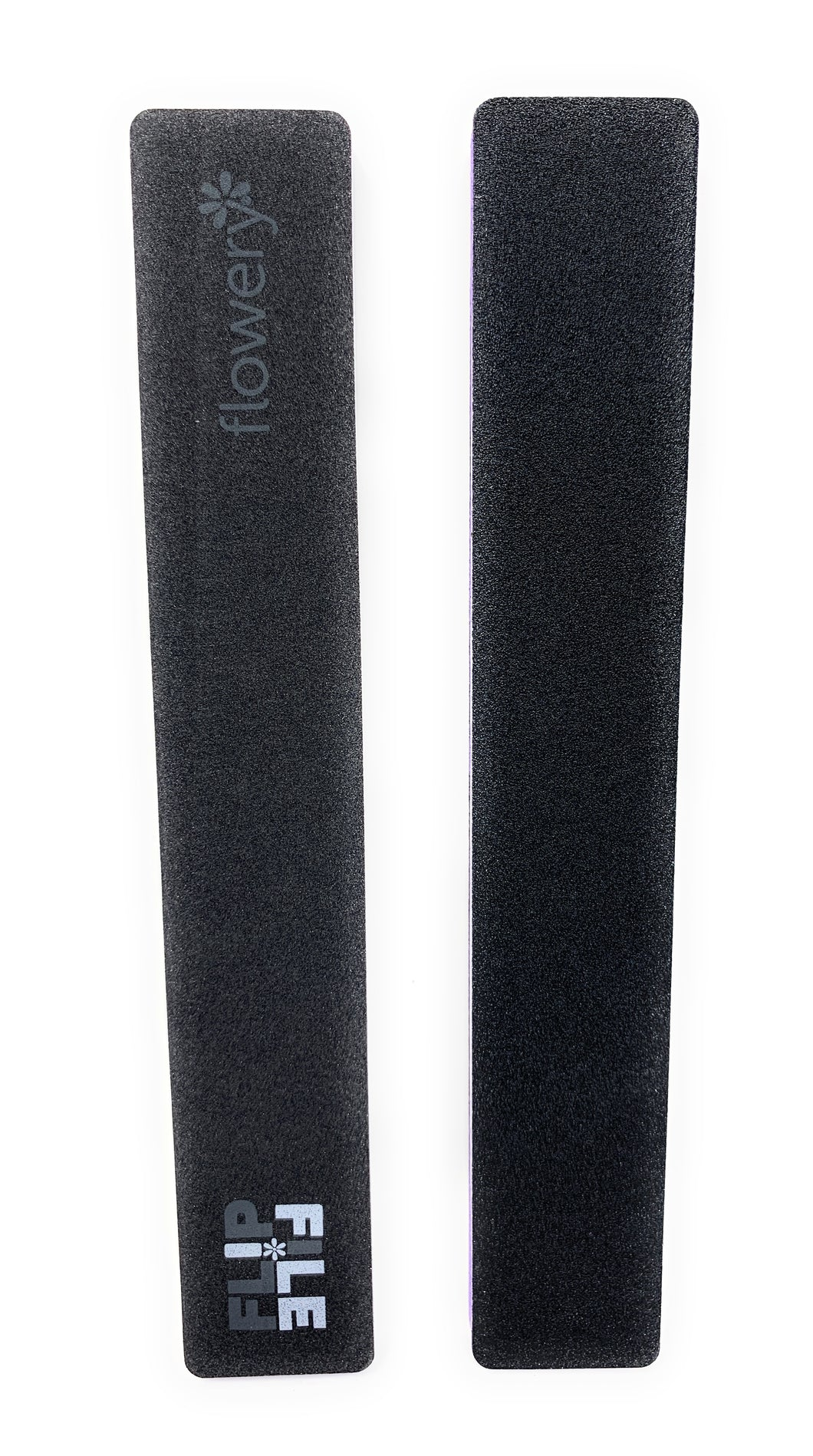 Flowery 2 in 1 Nail File and Nail Buffer 150-180/300 Grit Natural Nail  Black Purple 2 Pc.