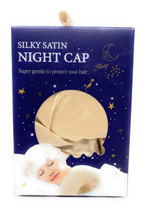 Kingsley Silky Satin Night Cap Sleeping Hats Sleep Bonnets Gold
