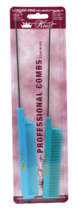 Krest XL Pintail Combs Foiling Combs Fine Tooth Rattail Hair Cutting Comb 2 Pc.