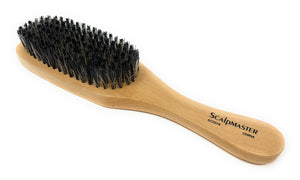 Scalpmaster Club  Hair Brush, Wave Hair Brush, Curved Oval Palm Brush Boar Bristles and Natural Wood 1 Pc.