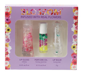 Blossom Moisturizing Lip Gloss, Roll-on Perfume Oil, Color-changing Lip Balm Turquoise 3 Pcs.