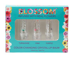 Blossom Color-Changing Crystal Hydrating Lip Balms Turquoise Pink Purple 3 Pcs.