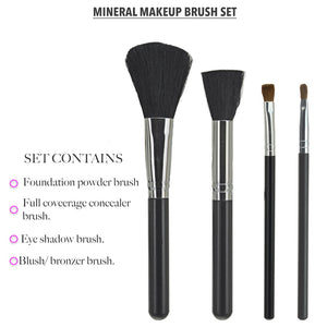 Trim Silk Mineral Makeup Brushes Set. Natural Bristles Brushes, 4-pc