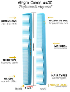 Allegro Combs 400 Barber Combs Cutting Combs All Purpose Combs Baby Blue Combs 12 Pk