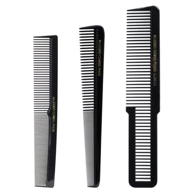 Allegro Combs Barber Comb Set Hair Cutting Combs. Tapered Comb, Stylist Comb, Flat Top Combs Clipper Comb. Back 3 Pc