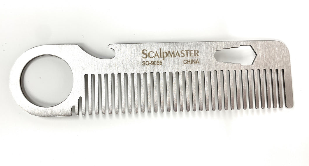 Scalpmaster Stainless Steel Beard Comb Stainless SteelUtility Bear Comb 1 Pc.