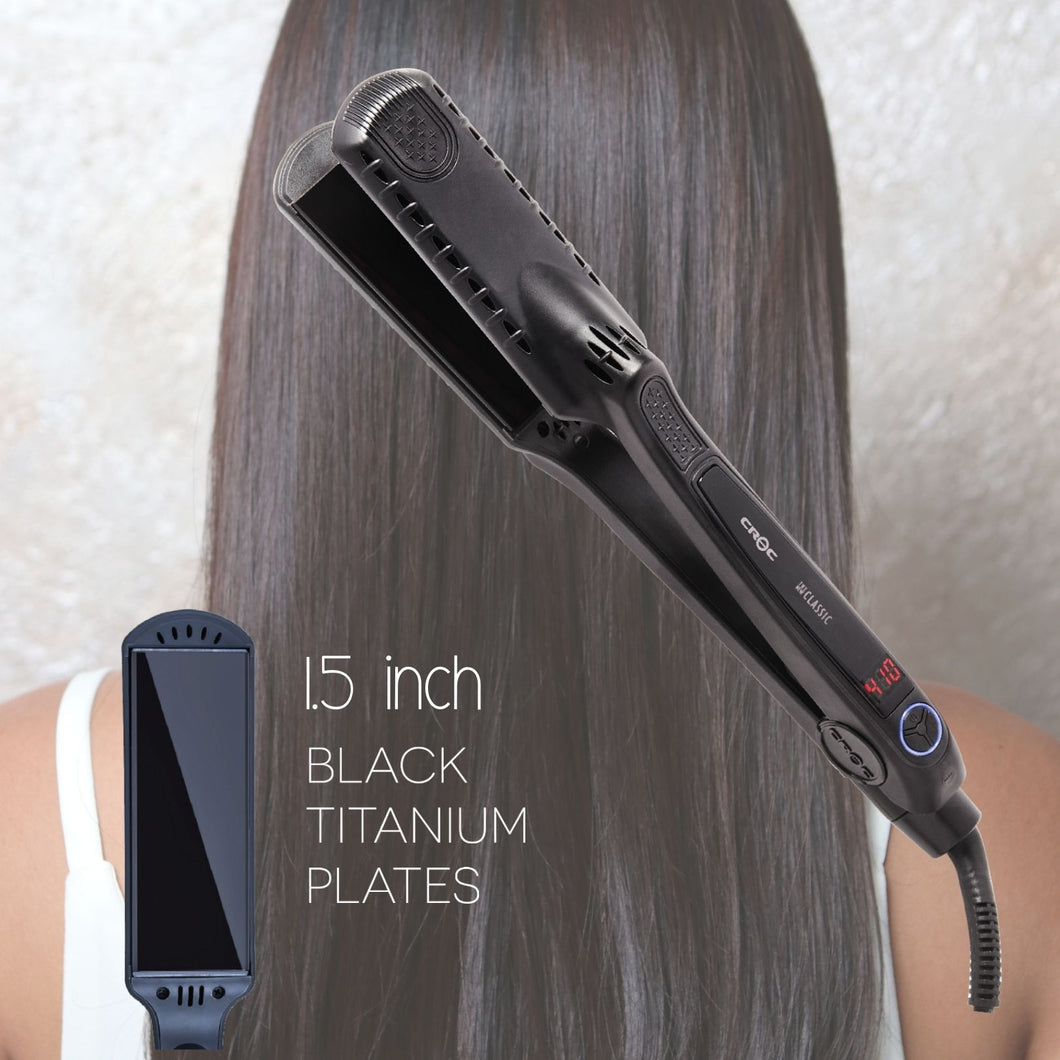 CROC New straightener Black Flat Iron Hair Straightener Ceramic Titanium Floating Plates Dual Voltage Heat Up 450℉
