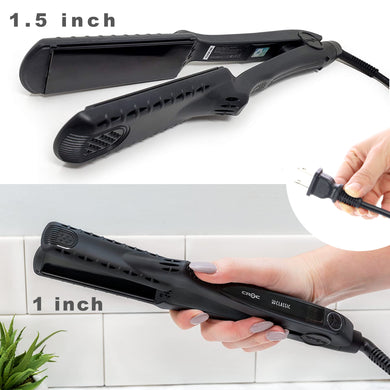 CROC The New Classic straightener Black Flat Iron Hair Straightener Ceramic Titanium Floating Plates Dual Voltage Heat Up 450℉