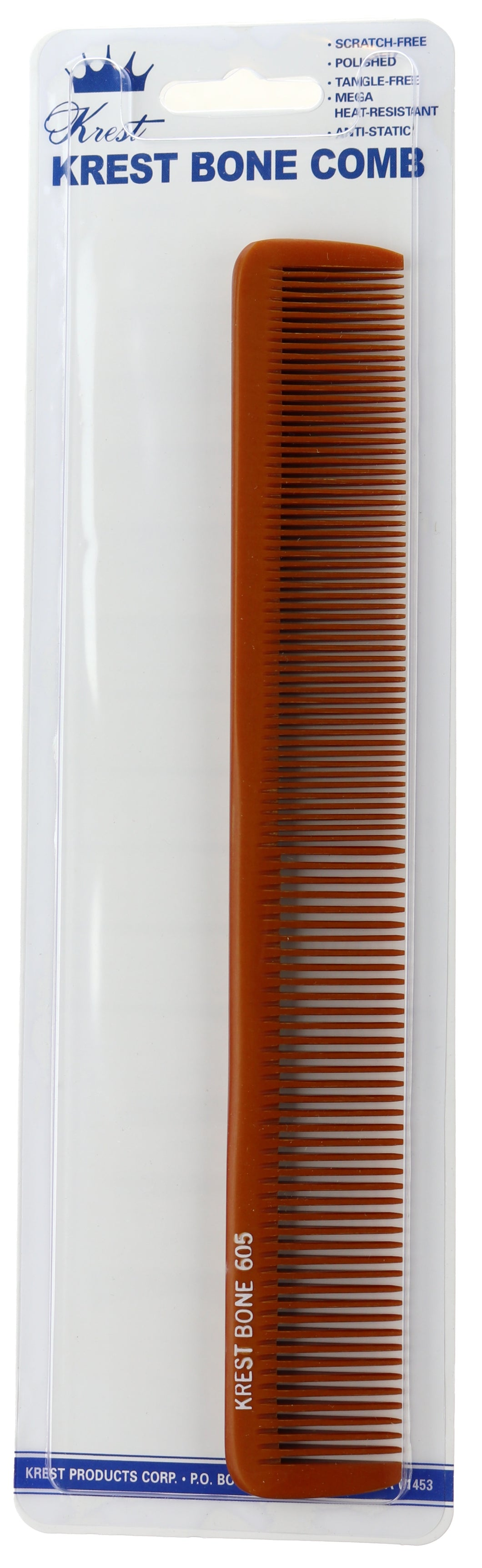 Krest Bone Comb 8-1/2 In. Heat Resistant Comb. Stylist Combs. Flat Iron Comb