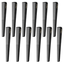 Krest Combs 7 In. Barber Hair Cutting Combs. All Purpose Cleopatra Combs. Black.