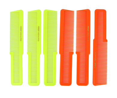 Krest Combs 8 In. Clipper Hair Cutting Comb. Klipper Comb. Neon, Yellow & Neon Orange. 6 pc.
