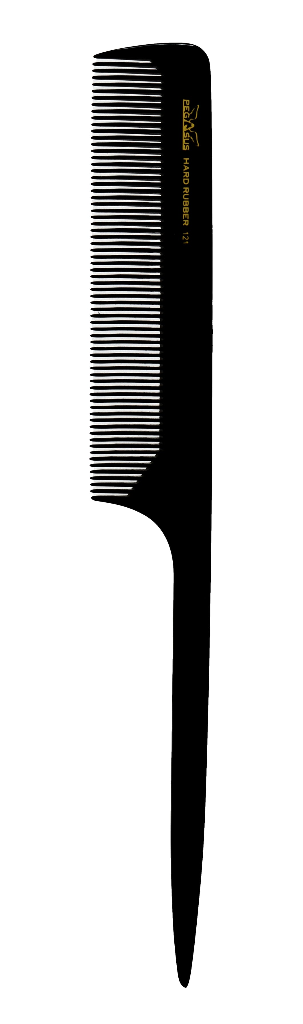 Pegasus 121 Black Fine Teeth Rattail Hair Comb. Heat Resistant Comb 1pc