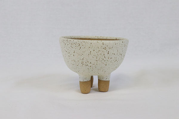 Small White Bowl on 3 Legs in Speckled Buff