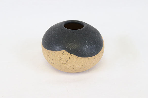 Three Scalloped Black Matte Bud Vase in Speckled Buff Clay