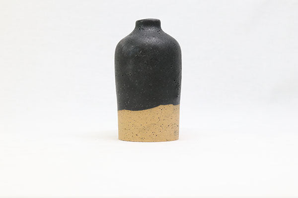 Small Matte Black Speckled Bud Vase