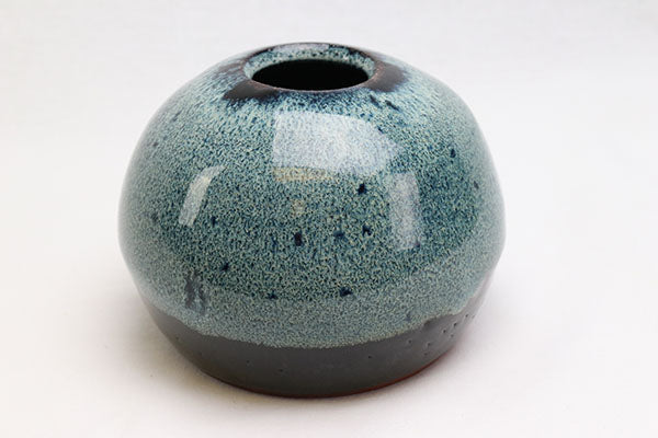 Round Blue on Black Terracotta Vase