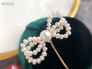 Handmade Bow-Shaped Pearl Earrings