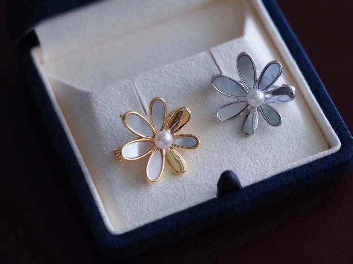 Mother of Pearl and Akoya Pearl Flower Brooch Pin