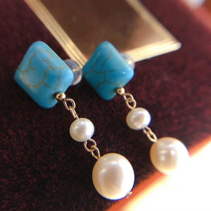 Turquoise Square 2-Pearl Studs Drop Earrings