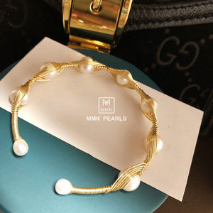 Handmade 14K Gold Filled Wire Pearl Bracelet