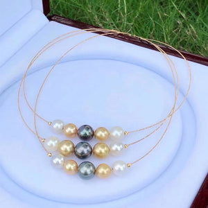 18K Gold Saltwater Pearl Hoop Necklace