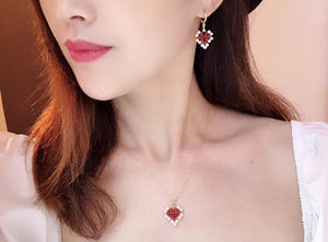 Handmade Red Agate and Pearl Earrings and Pendant Necklace Set