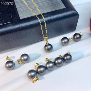 18K Yellow Gold 10-11mm Tahitian Black Pearl Pendent Including Gold Chain