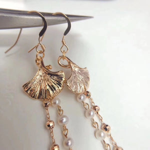 Gingko Leaf Tassel Earrings