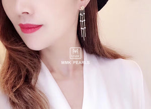 Bauhinia Flower Pearl Tassel Earrings
