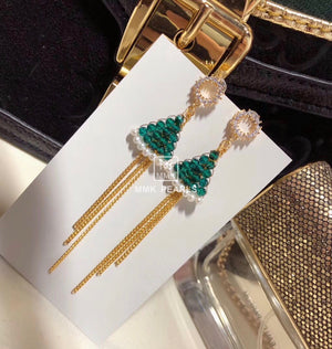 Green Crystal Christmas Tree Pearl Drop Earrings