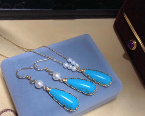 Teardrop Turquoise Hook Earrings and Necklace Set