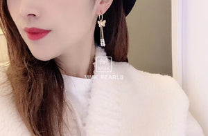 Butterfly Tassel Pearl Earrings