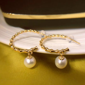 C-Shaped Pearl Post Earrings