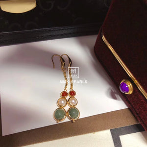 Green and Red Agate Pearl Earrings 14K Gold Filled