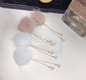 Fur Ball Earrings, Pom Pom Earrings