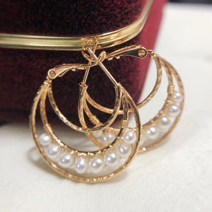 14K Gold Filled Twist Triple Hoop Pearl Earrings