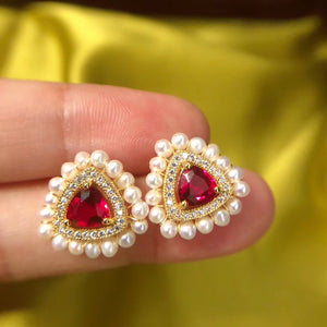 Lab-Created Red Ruby Pearl Studs