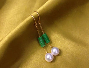 Jade and Akoya Pearl Hook Earrings