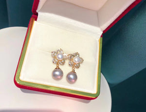 Double-Pearl Floral Earrings