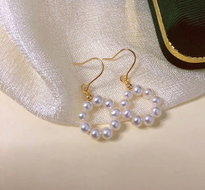 14K Gold Filled Donut Hoop Pearl Earrings