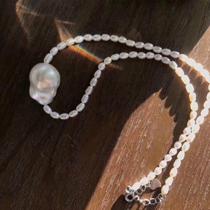 15-17mm White Baroque Pearl Pendant Necklace