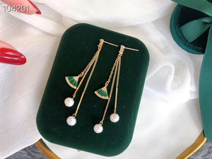 Handmade Green Fan Long Pearl Earrings