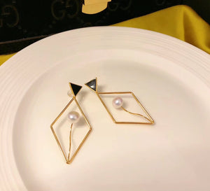 Diamond and Triangle Statement Drop Earrings