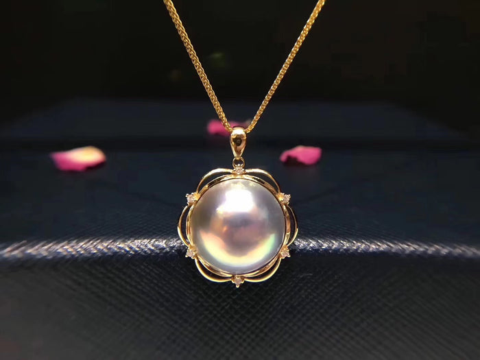18K Gold 13-14mm Mabe Pearl Pendant Necklace