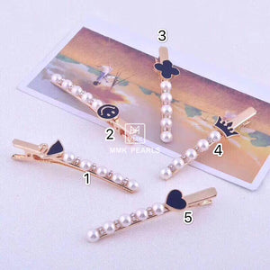 Handmade Authentic Pearl Hair Pin Barrette Design B