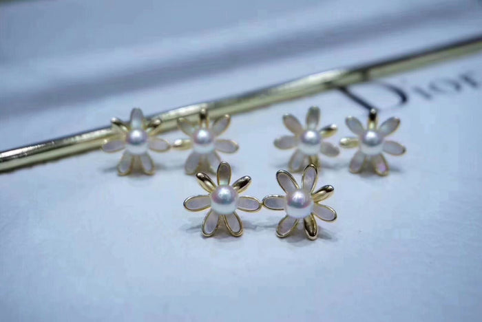 Mother of Pearl and Akoya Pearl Flower Studs Earrings