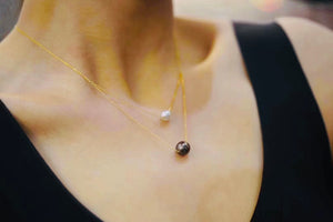 18K Gold Chain Duo Pearl Pendant (7mm Akoya White Pearl & 10mm Tahitian Black Pearl)