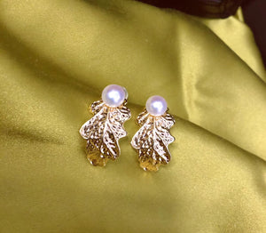 Oak Leaf Pearl Post Earrings