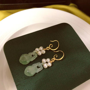 Jade and 4-Pearl French Hook Earrings